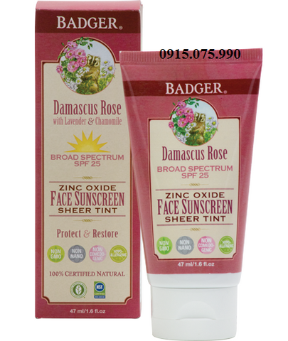 Badger Lotion chống nắng SPF25 Damascus Rose Sheer Tint Face Sunscreen