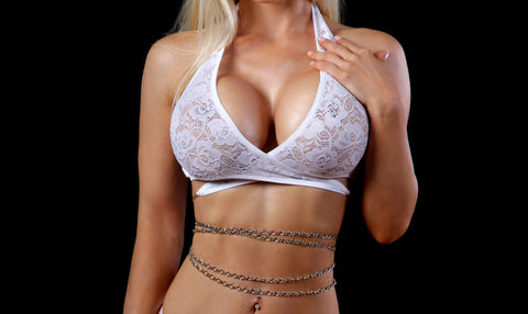 Lace Savage Wrap Around Top with Chain Bodice Ties - Pole Beauties and Beasts