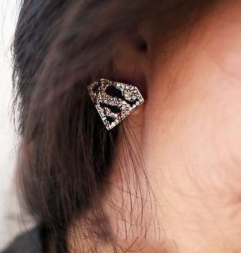 Golden Bling Rhinestone Superman Earring - Pole Beauties and Beasts