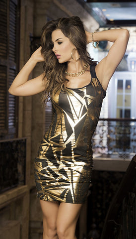 Dazzling Black & Gold Mini Dress - Pole Beauties and Beasts