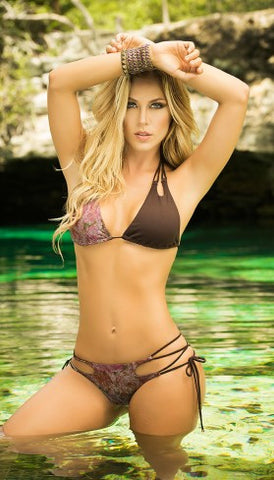 Chocolate Snakeskin Swim Wear - Pole Beauties and Beasts