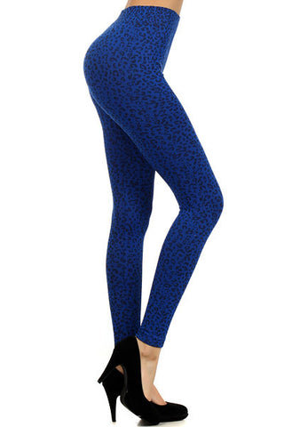 Blue Leopard Print Leggings - Pole Beauties and Beasts