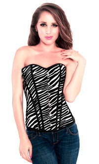 Zebra Animal Print Vinyl Womens Corset Top