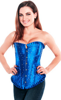 Blue Rhinestone Womens Corset Top - Pole Beauties and Beasts