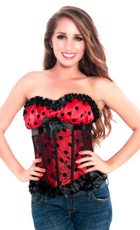 Valentine Red Polka Dot Burlesque Corset Top