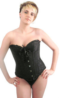 Elegant Black Embroidered Steel Busk Corset Top - Pole Beauties and Beasts