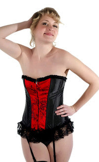 Elegant Black Red Lace Zipper Corset Top - Pole Beauties and Beasts