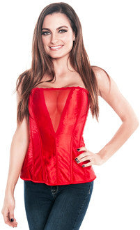 Side Zipper Valentine Red Hot Deep V Cut Satin Corset Top