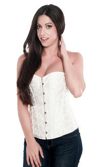 White Embroidered Bridal Corset Top