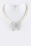 Crystal Encrusted Bow Pearl Necklace - Pole Beauties and Beasts