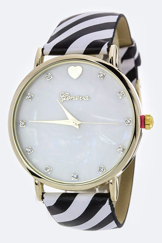 Stripe Print Strap Crystal Watch
