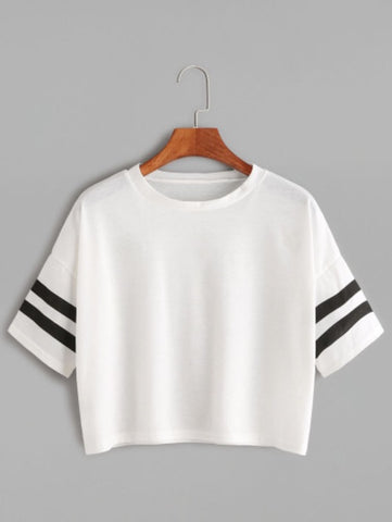 White Dropped Shoulder Seam Varsity Striped Crop