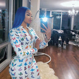 ANJAMANOR Butterfly Print Sexy Long Sleeve Bodycon Jumpsuits for Women 2020 Club Outfits One Piece Rompers Active Wear D37-AF33