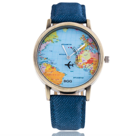 New Global Travel By Plane Unisex Watch