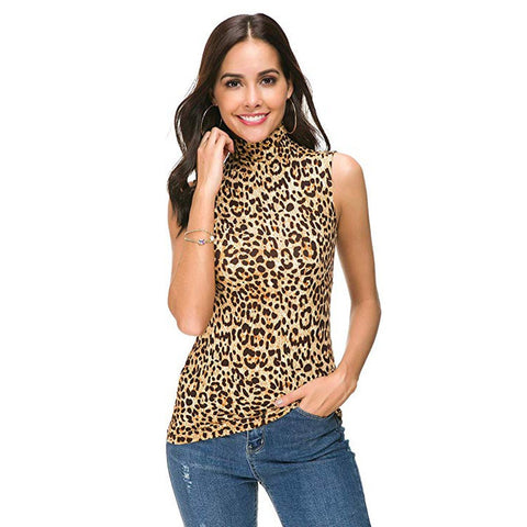 Leopard Print Turtleneck Top