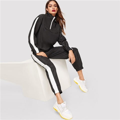 In Season Zip Up Turtleneck Two Piece Set
