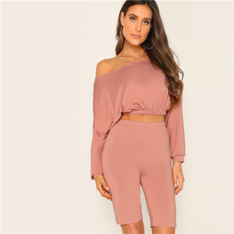 Sidity Pink Off Shoulder Two Pieces Set