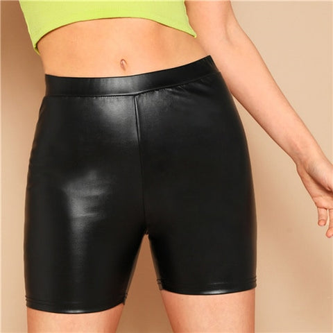 Mid Waist Leather Shorts