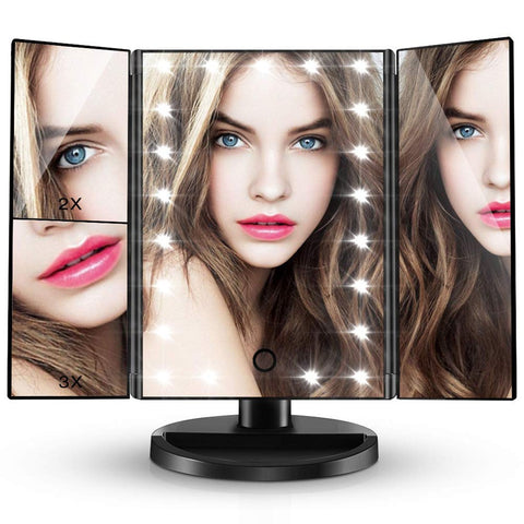 Tri-Fold Beauty Mirror with LED Lights