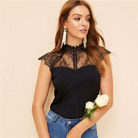 Lace Shoulder Top