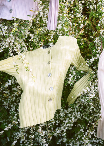 Seashell Rib Cardigan in Lime