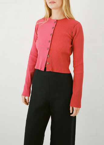 Duet Cardigan in Red & Pink