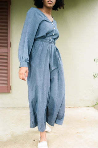 Judo Jumpsuit in Navy Gingham