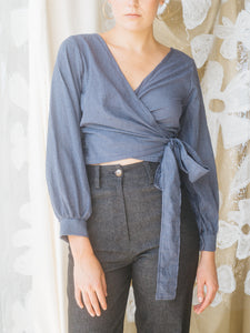 Judo Wrap Top in Blue Gingham