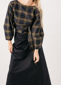 Lantern Wrap Top in Tartan Fleece