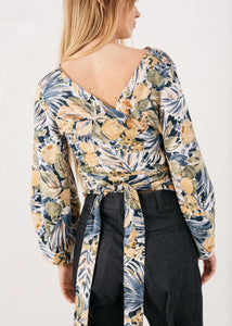 Lantern Wrap Top in Fruit Flower