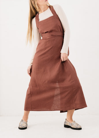 Pini Wrap Dress in Maple Linen