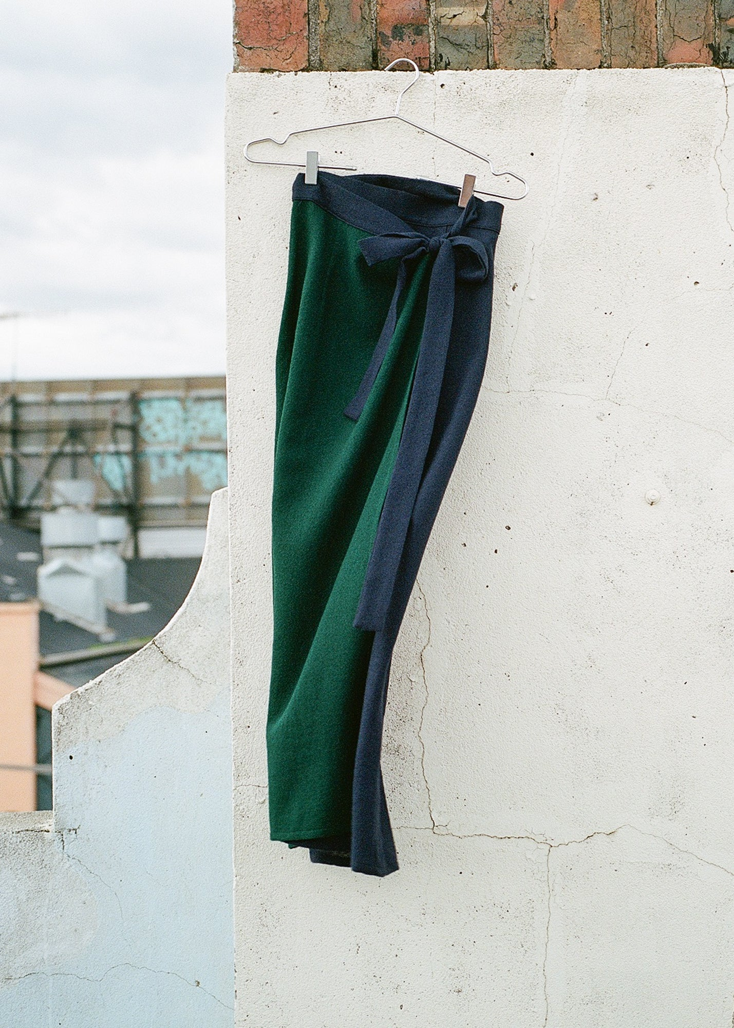 Duet Wrap Skirt in Forrest Green & Navy