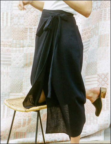 Fortuna Wrap Skirt In Wool Gauze
