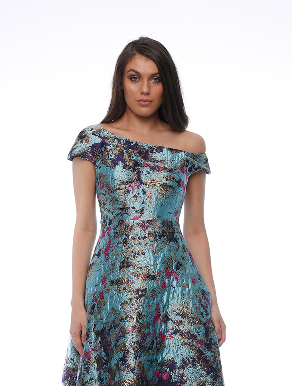 Peacock Off The Shoulder Dress