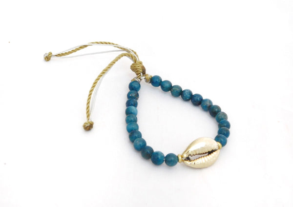 Cowry Shell Golden Cowry shell with apatite beads