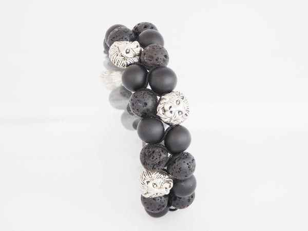 Beads for Him Double Matt Onyx & Lava Stone Mixed with Lion Bracelet
