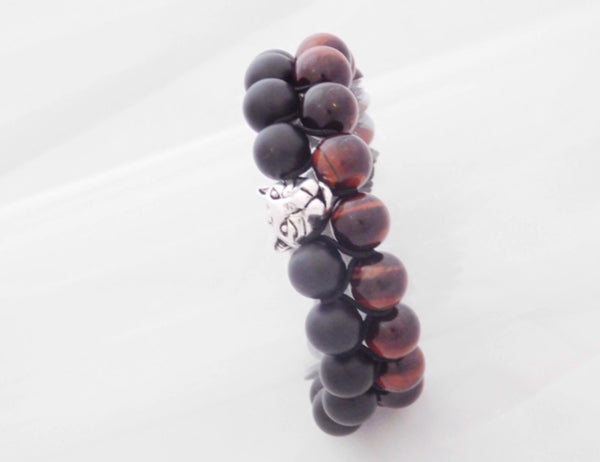 Beads for Him Double Matt Onyx & Red Tiger Eye with Panther Bracelet