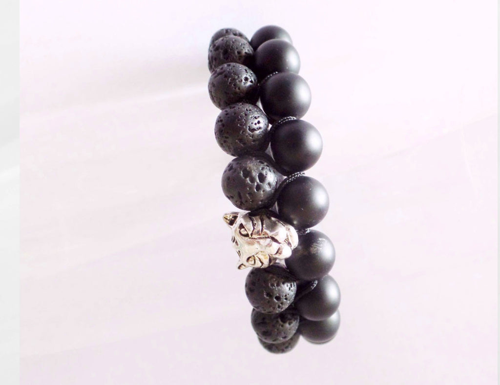 Beads for Him Double Lava Stone & Matt Onyx with Panther Bracelet