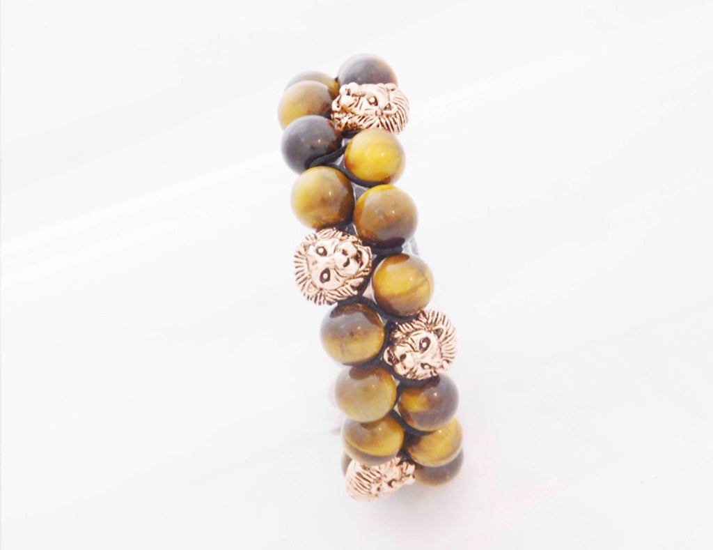 Beads for Him Double Tiger Eye with Rose Gold Lion Bracelet