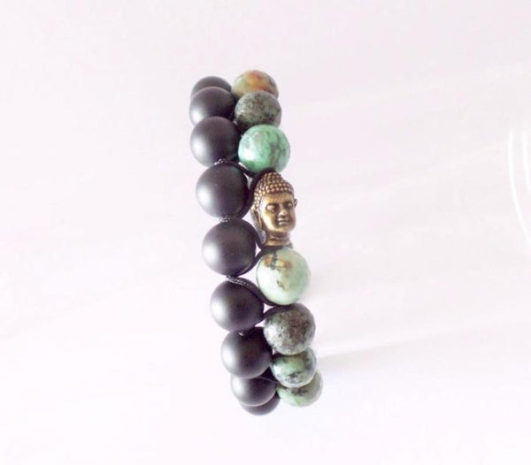 Beads for Him Double Matt Onyx & Africa Turquoise with Buddha Bracelet