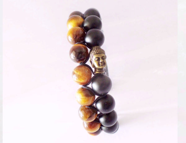 Beads for Him Double Tiger Eye with Matt Onyx Buddha Bracelet