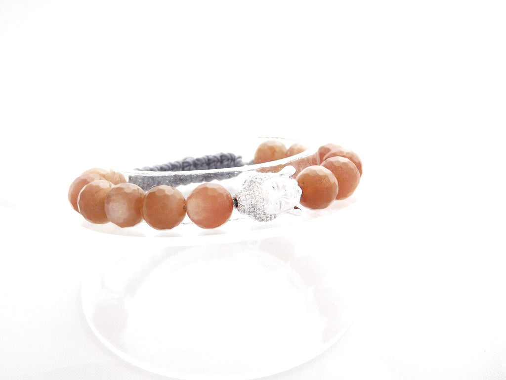 Beads for Her Sunstone Beads with Pave Buddha Bracelet
