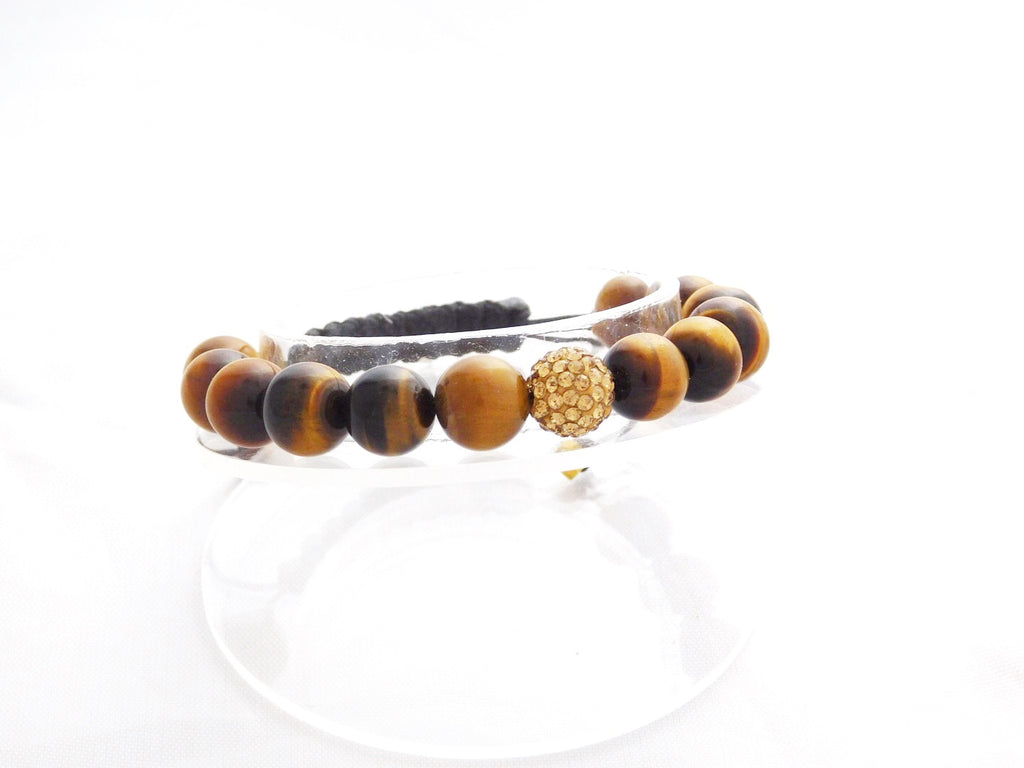 Beads for Her Tiger Eye Beads with Gold Crystal Bracelet