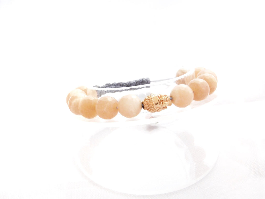 Beads for Her Sunstone Beads with Gold Plated Buddha Bracelet