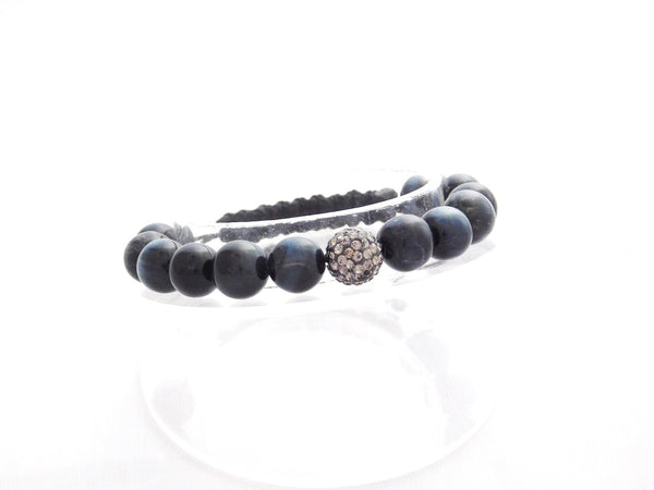 Beads for Her Blue Tiger Eye with Grey Crystal Bracelet