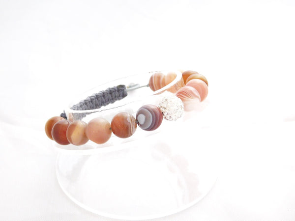Beads for Her Botswana Agate With Crystal Bracelet