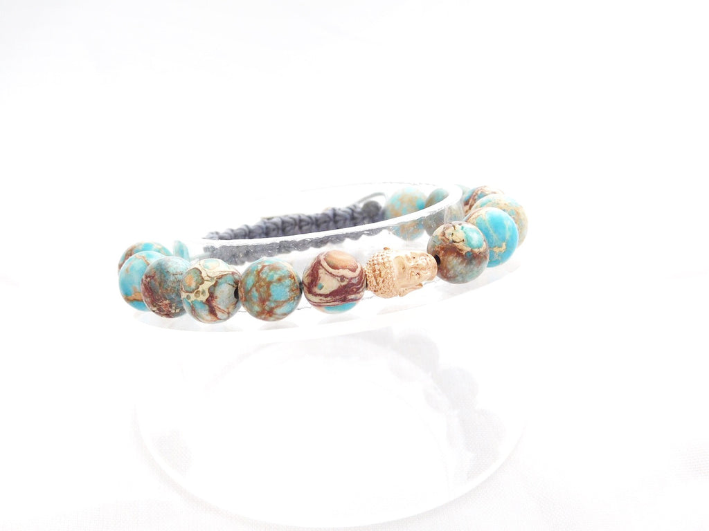 Beads for Her Blue Sediment Jasper with Gold Plated Buddha Bracelet