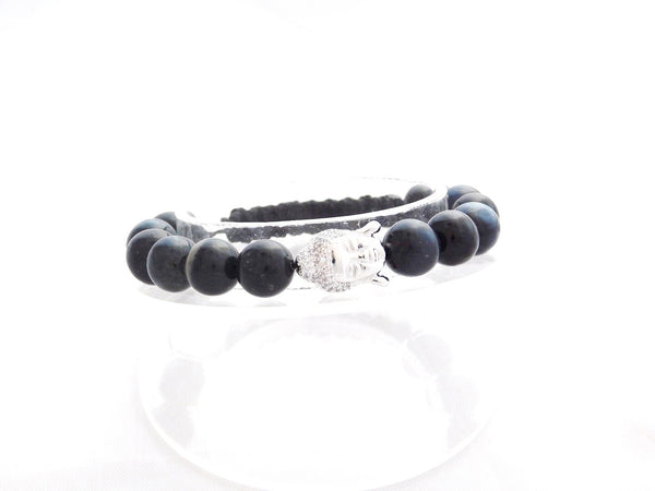 Beads for Her Blue Tiger Eye with Pave Buddha Bracelet