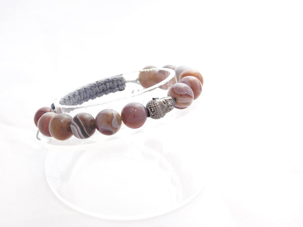 Beads for Her Botswana Agate With Buddha Bracelet