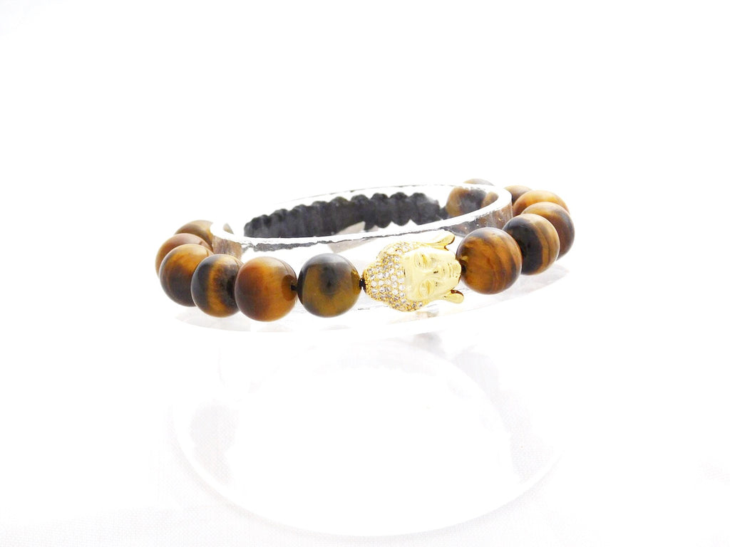 Beads for Her Tiger Eye with Gold Pave Buddha Bracelet